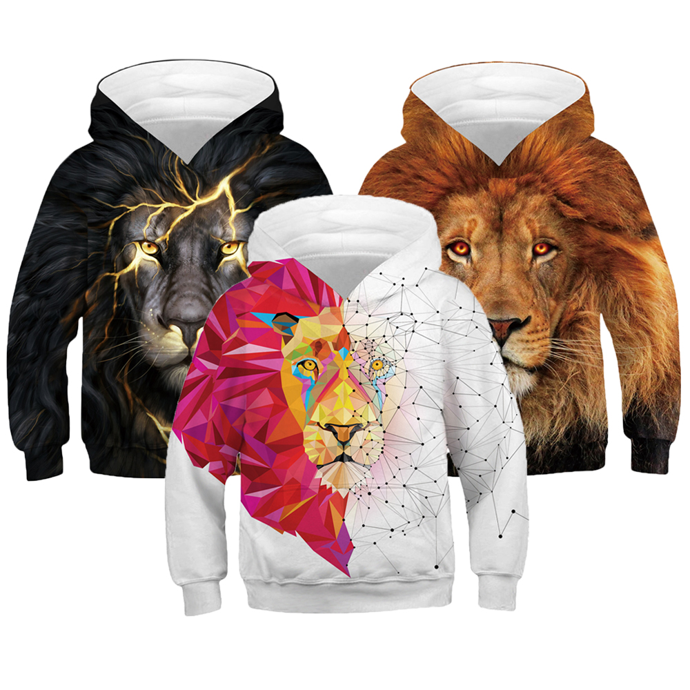 Boys Hoodies Pullover Long-Sleeve Teens Kids Autumn 3-12-Years Lion for Tops 3d-Print
