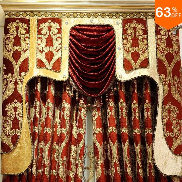 The Red luxurious ancient Roman helmet Head Hook Hang style Living Room curtains of Restaurant Red Golden palace Hotel Curtain