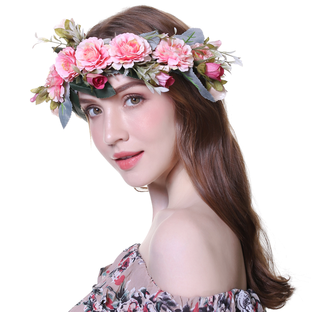 cf1ec058b1b AWAYTR Bezel Wreath Flower Headband Wedding Crown for Women Girls Tiaras  Spring Headwear Photograph Hair Accessories-in Women s Hair Accessories  from ...