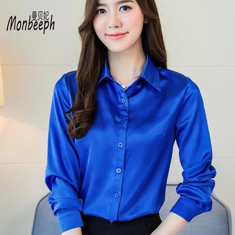 2018 Women silk satin   blouse   button long sleeve White Gold Red Black lapel ladies office work elegant female silk   blouses     shirts