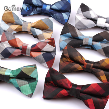 Plaid Bow Ties For Men Polyester Fashion Adjustable Bowtie for Wedding Party Cravats Groom Butterfly Adult Bowties