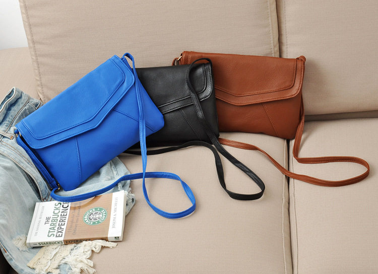 219d01c244f 2015 New Women Messenger Bags Fashion Simple PU Leather Small Thin Shoulder  Bag Black Blue Brown AA557B-in Crossbody Bags from Luggage & Bags on ...