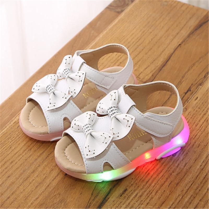 Toddler Girls Sandal Kids Shoes With Ligth Cute Bow Baby Girls Sandals Children Led Light up Princess Sandals Girls Size 21 30|Sandals| |  - title=