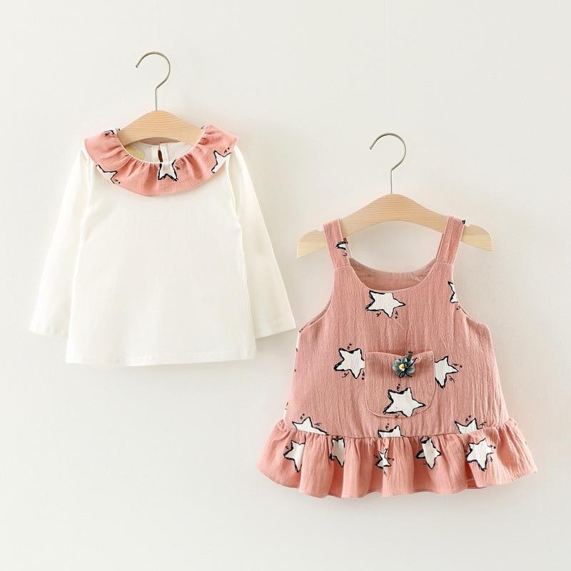 Baby Girl Clothing Set 2017 Autumn New Arrival Clothes Suit Peter Pan Collar T Shirt Ruffles Stars Dress 2pcs Princess Outwear