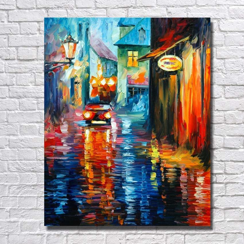 Village Scenery Art Painting Hand Painted Cheap Modern Canvas Art