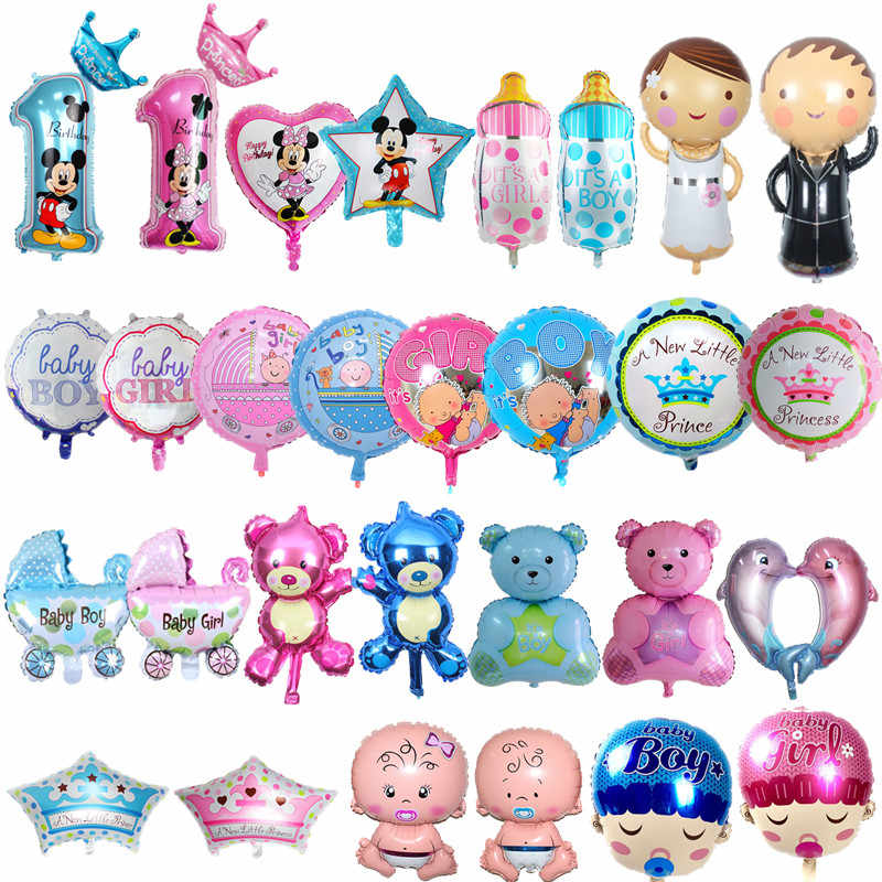 Baby Shower Balloons Decor Happy Birthday Theme Party Stroller Its A Boy Girl Letters