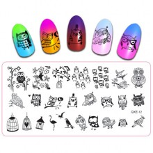 Owl Theme Nail Art Stamp Template Image Cute Stamping Polish Plate DIY Tool QXE12#