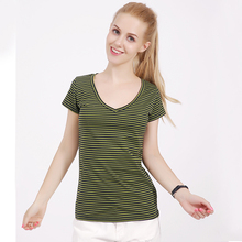 ФОТО fashion 100% feel well cotton tees women summer v-neck t shirt female short sleeve tops camouflage small striped lady t-shirt