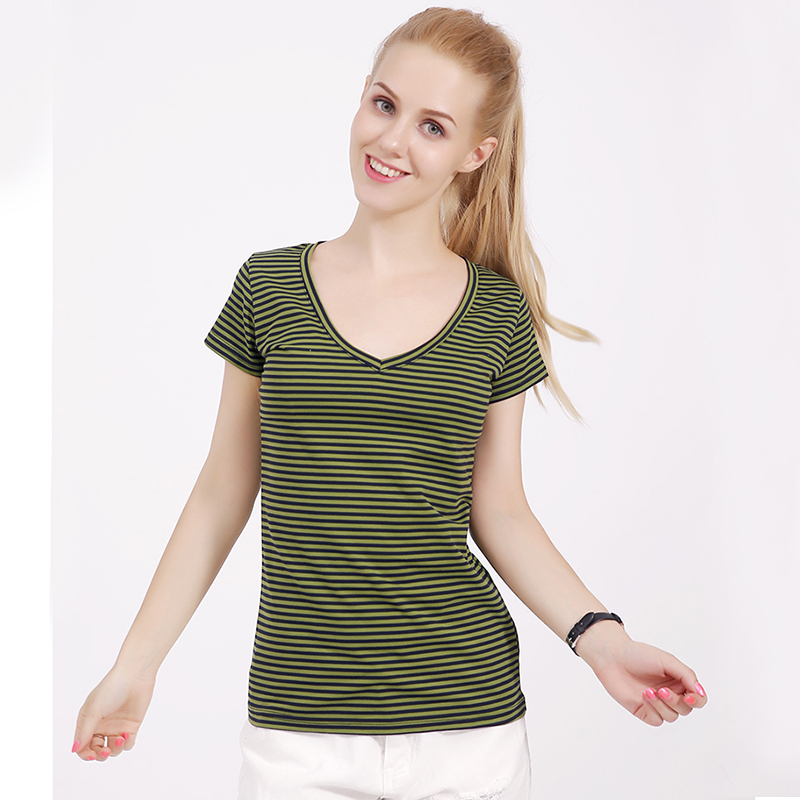 Fashion 2018 new style cotton tshirt women summer V-neck cool t shirt female short sleeve tops small striped Lady casual t-shirt