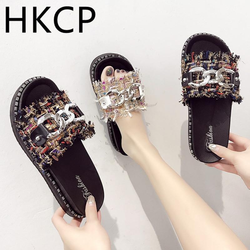 HKCP Slipper women 2019 summer new metal belt buckle one - lettered sandals leisure C023