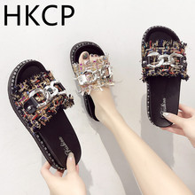 HKCP Slipper women 2019 summer new metal belt buckle one - lettered sandals leisure C023