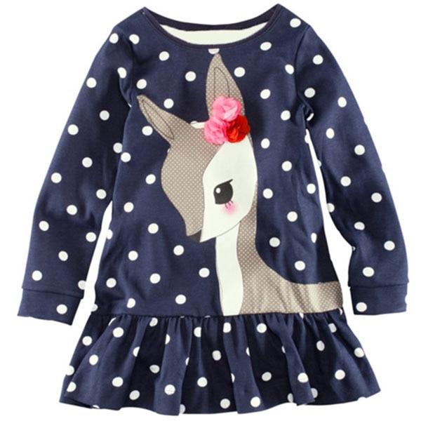 2-7Y Spring New Children Clothing Baby Girls Cute Deer Long Sleeve Cotton Polka Dots Top Dress toddlers girls dots deer pleated cotton dress long sleeve dresses
