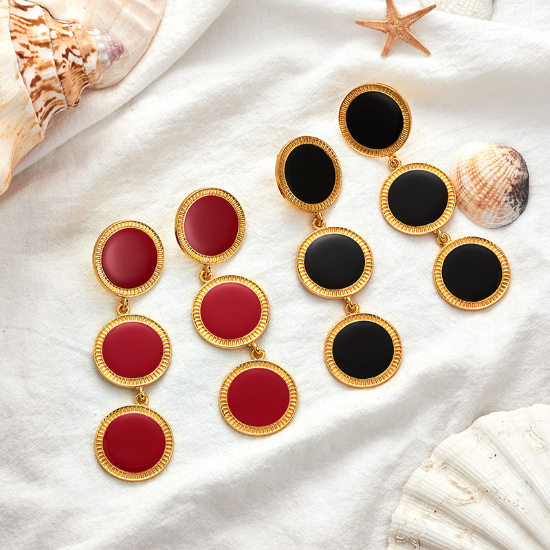 Women Dangle Earring Long Gold Color Round Drop Earrings Chain Dot Elegant Tassel Boho Fashion Jewelry Red Black Punk 2019 MC014