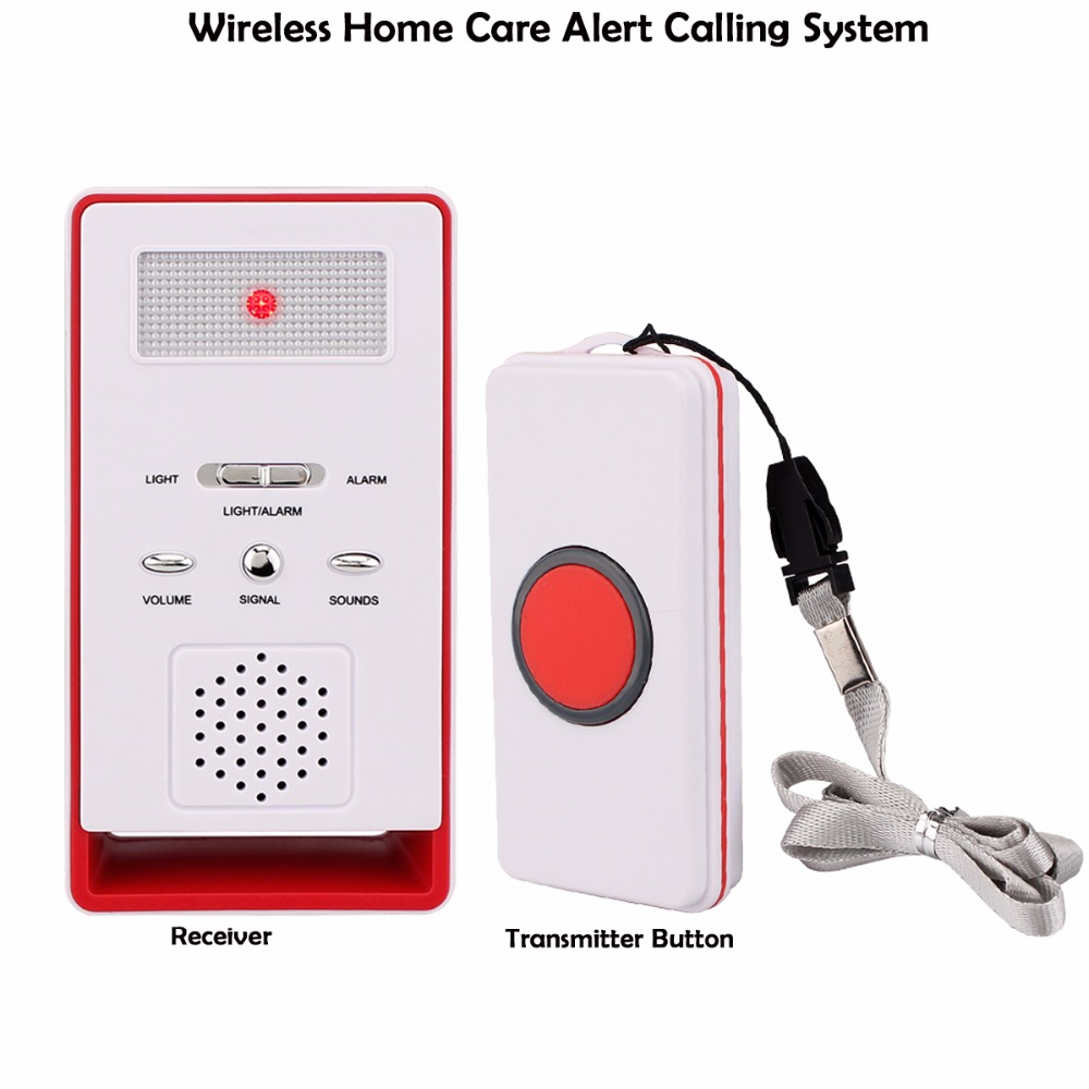 Wireless Home Care Alert Calling System Receiver +Call Transmitter Button for Elderly Patient Pregnant Children Disabled F3328B wireless home security door bell call button access control with 1pcs transmitter launcher 1pcs receiver waterproof f3310b