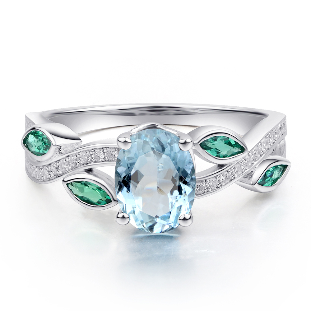 diamond rings herkimer natural engagement ring product and aquamarine