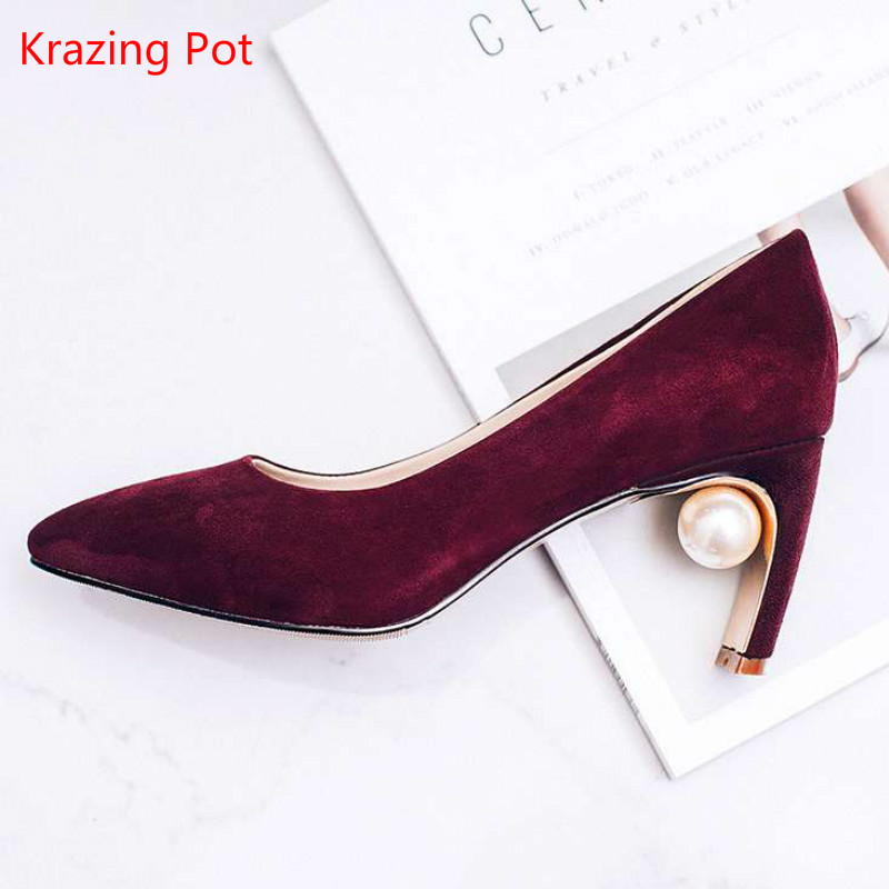 2017 New Fashion Thick High Heel Pearl with Women Pumps Flock Pointed Toe Shallow Sexy Party Wedding Casual Brand Women Shoes 71 new 2017 spring summer women shoes pointed toe high quality brand fashion womens flats ladies plus size 41 sweet flock t179