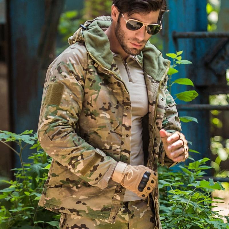 S.ARCHON Waterproof Tactical Fleece Jackets Men Hooded Military Camouflage Field Jacket Coat Winter Warm Windbreaker Army Jacket