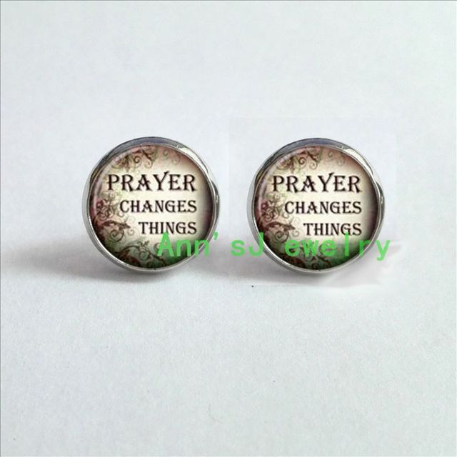 Hz4 00278 1pair Eardrops Quotes Earrings Inspirational Stud Sayings Jewelry Gl Cabochon