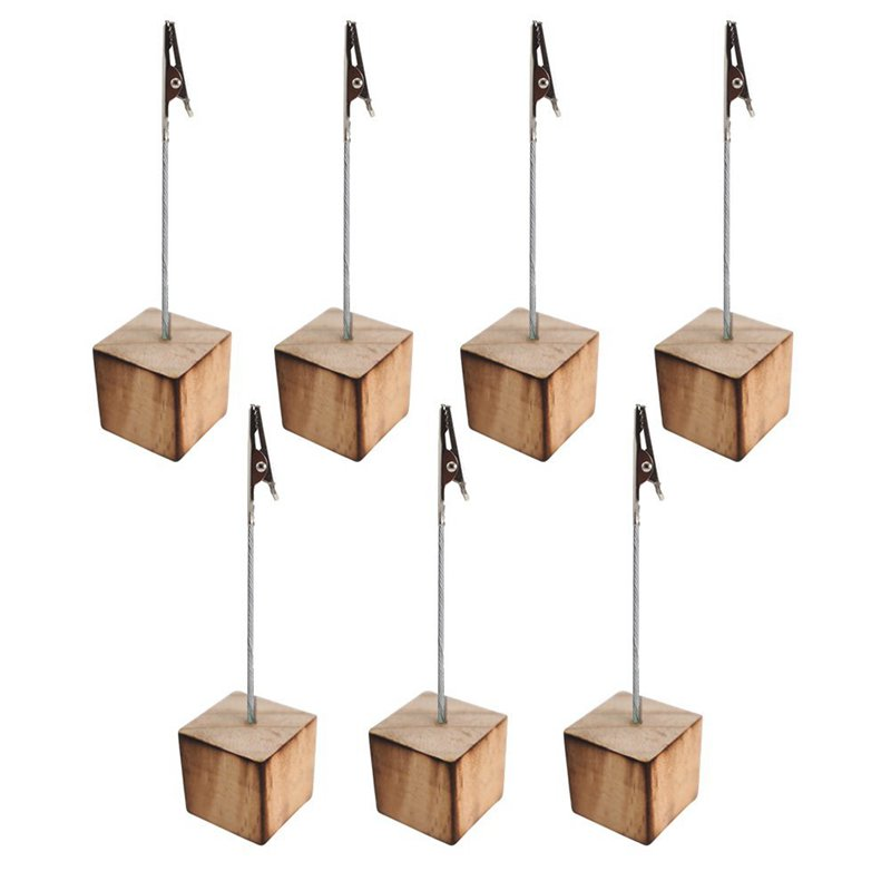 Memo Clip Holder Stand Picture Card Note Clip Stand 7pcs Wood Color