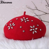 Women S Beret Hat Fashion Solid Color Wool Knitted Berets With Rhinestones Ladies French Artist Beanie