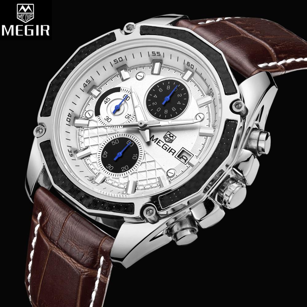 2ee9b3570a8 MEGIR Official Men Watches Fashion Genuine Leather Chronograph Watch Clock  for Gentle Men Male Students Reloj Hombre 2015