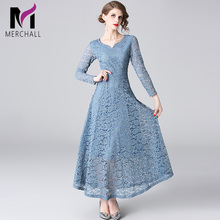 Merchall New Arrival Ladies Lace Long Dresses 2019 Full Sleeve Hollow Out Maxi Party dress Fashion Designer Runway Dress