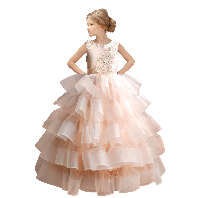 Princess Little Girls Pageant Prom Dress Kids Evening Ball Gowns Vestidos Para Nina Organza Lace Elegant Flower Girl Dresses