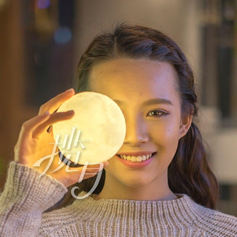 3D print de maan maan lamp lamp opladen creatieve prive custom gift maan nachtlampje Luna