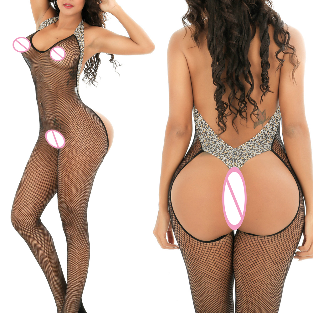 Sexy Hot Erotic Fishnet Halter Backless Leopard Bodystocking Bodysuit Babydoll Lingerie Lenceria Porn Latex Catsuit Wetlook