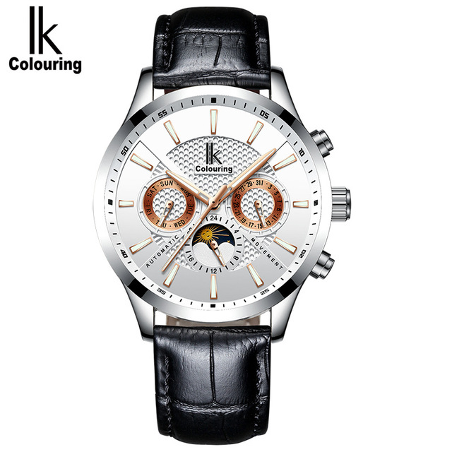Skeleton Automatic Watch Men IK colouring Fashion Waterproof men watches Relogio Automatico Masculino leather watchbands | Fotoflaco.net