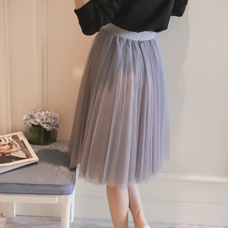 792065ae5d39b New Puff Women Chiffon Tulle Skirt White faldas High waist Midi Knee Length  Large size Grunge Jupe Female Tutu Skirts Lolita-in Skirts from Women s  Clothing ...