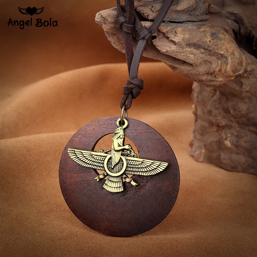 Angel bola 2017 new fashionable ancient bronze Egyptian necklace Horus eyes Egyptian jewelry hieroglyphs charm KC-809