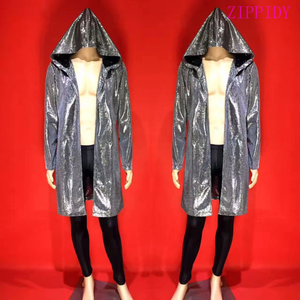 Original Fashion Men Gold Or Silver Hooded Bright Cloak Bar Nightclub Singer Dancer Dj Ds Stage Show Long Design Jacket Costume дефлектор капота ford капота galaxy 2006 2010 classic прозрачный