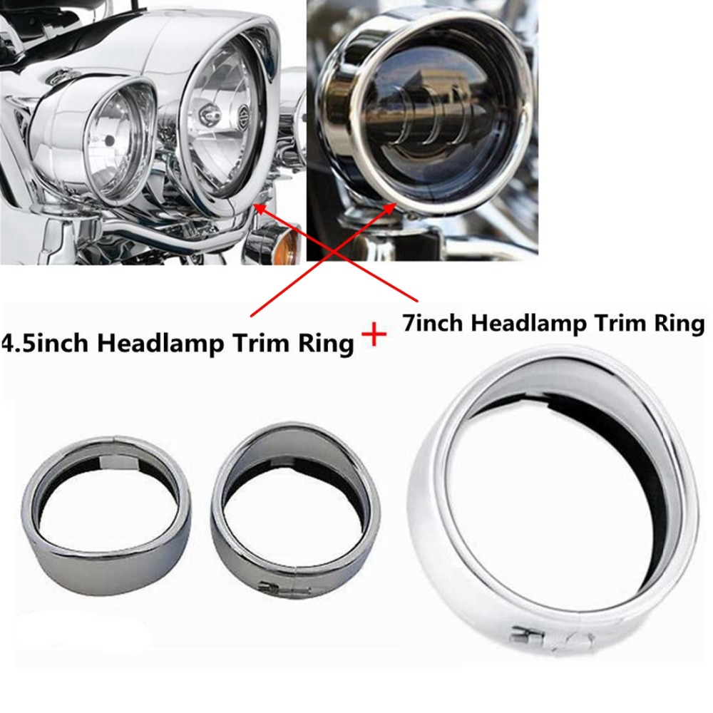 Motorcycle Set of Chrome/Black7 Headlight Trim Ring + 4 1/2 Fog Light Trim Ring Decorate Ring For Harley Touring Road King