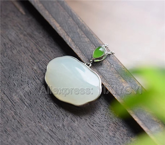 Romantic 925 Sterling Silver White Hetian Jade Carved Cute Cucurbit Dangle Lucky Pendant Jewelry & Accessories Chain Necklace Charm Fine Jewelry Charm Gift Online Discount