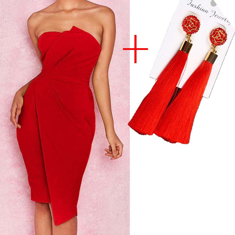2019 Autumn women irregular party dresses vintage sundress lady sexy dress tube top strapless sheath dress with tassel earrings