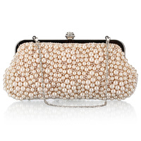 Hot Sale 2016 Women Rhinestone Evening Bag Female Pearls Evening Clutch Bags Party Beading Crossbody Bag