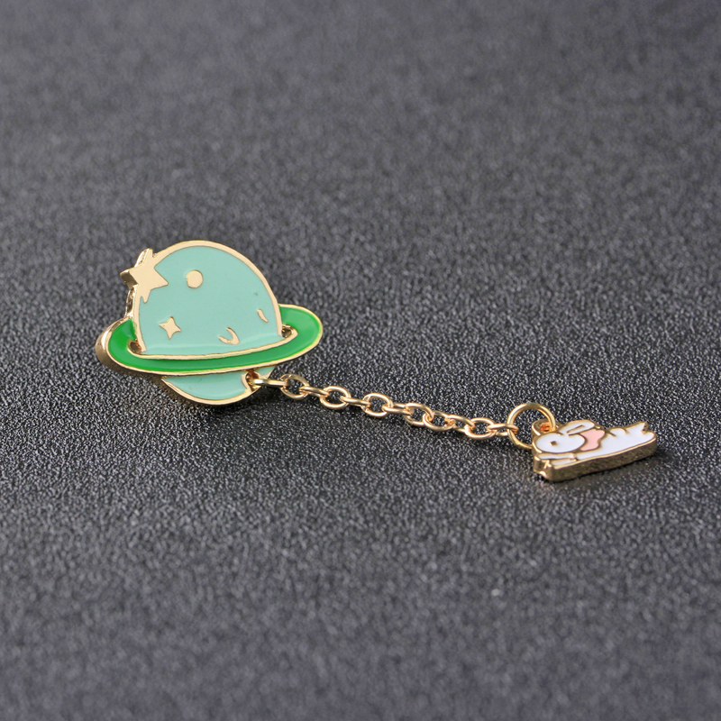 d7b33e70ba9 Bunny galaxy enamel pins and brooches Saturn Planet chain Rabbit galactic  system bolt light green fruit pin brooch Astronaut-in Brooches from Jewelry  ...