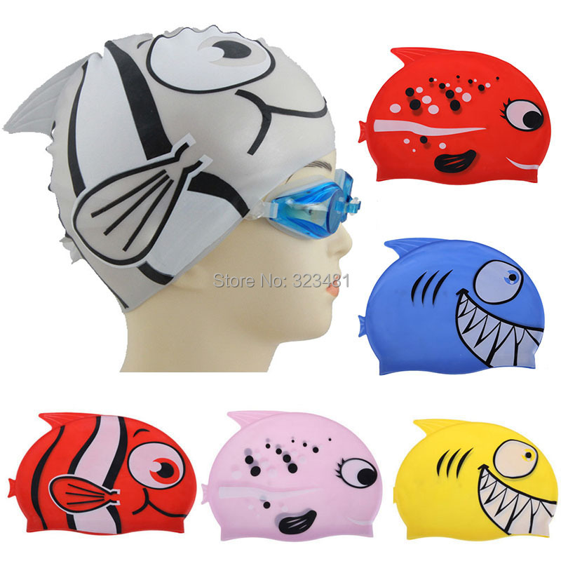 2018 Lovely Cartoon Shark Fish Children Swimming Cap Kids Swimming Pool Training Silicone Diving Swim Cap bone bonnet de bain