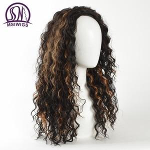 """Image 5 - I """"sa peruka afroamerykanów Ombre kręcone peruki dla kobiet naturalne długie peruki syntetyczne z pasemkami, odporne na ciepło włosy"""