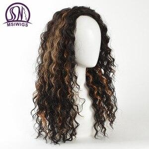 Image 5 - MSIWIGS Afrika Amerikan Ombre Kıvırcık Peruk Kadınlar için Doğal siyah Sentetik Peruk ile Golleri Isıya Dayanıklı Saç