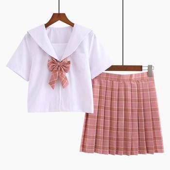 New Fashion Japanese School Clothing Girls School Uniforms Anime Cosplay Sailor Suit White Shirt Plaid Skirt Sets japanese anime love live sunshine cosplay costume takami chika girls sailor uniforms love live aqours school uniforms