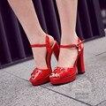 Noble Temperamento Extrema Tacón Cuadrado de Tacón Alto Zapatos de Mujer de Color Sólido Verano 2015 Horsebit Slingbacks Charol