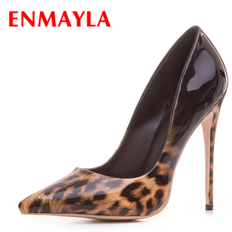ENMAYLA Women Gradient Color Sexy Stiletto Pointed Toe Leopard Pumps Women High Heels Party Shoes Woman Black Office Ladies nes mixed colors serpentine sexy women high heels ankle hook loop pointed toe stiletto pumps ladies banquet party shoes woman