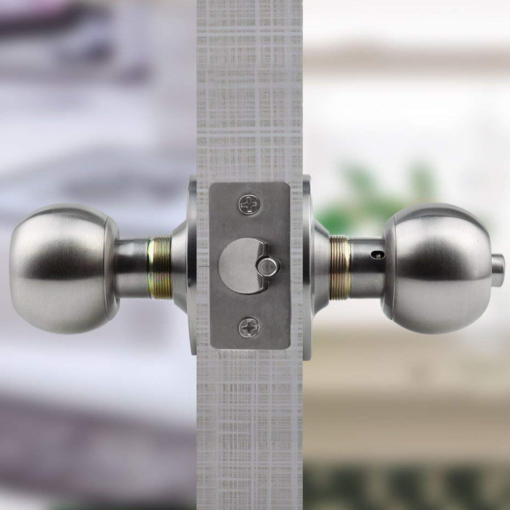 Round Lever Handle Knob knobs Door Lock Bedroom Passage locks Stainless Steel
