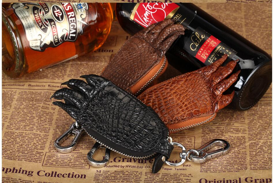 ФОТО Genuine Crocodile Skin leather car key  case and holder wallet men leather wallet crocodile leather key wallet