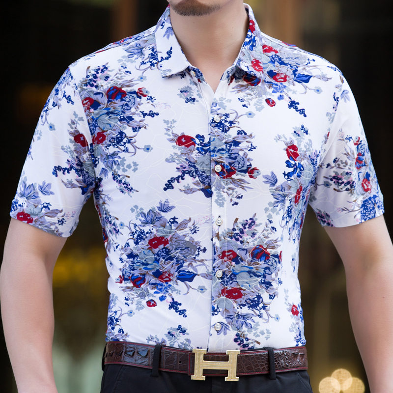 2018 short sleeve social men flower hawaii shirt dress casual slim fit summer male shirt ...