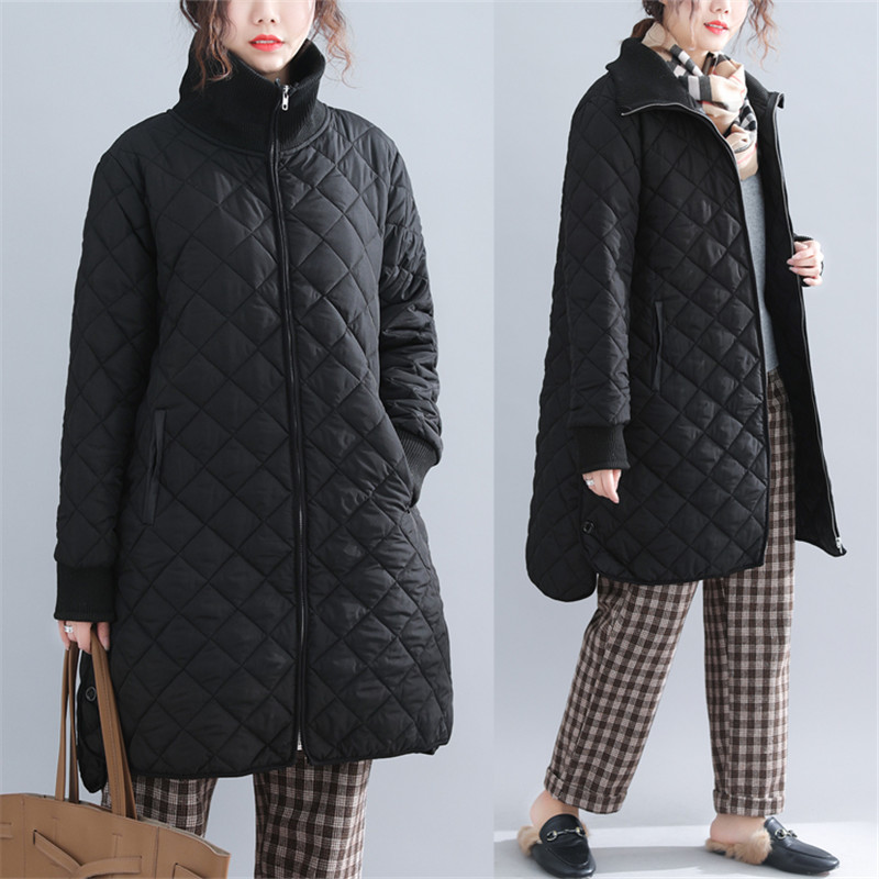 2019 Autumn Winter Women Quilted Padded Coat Solid Color Stand Collar Long Sleeve Zipper Casual Loose Winter Jackets Long   parka