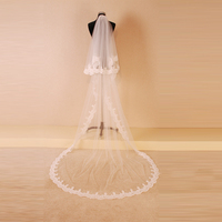 Wedding Accesories Bride 2 Layers Long Wedding Veil Ivory Lace Edge Bridal Veil With Comb In