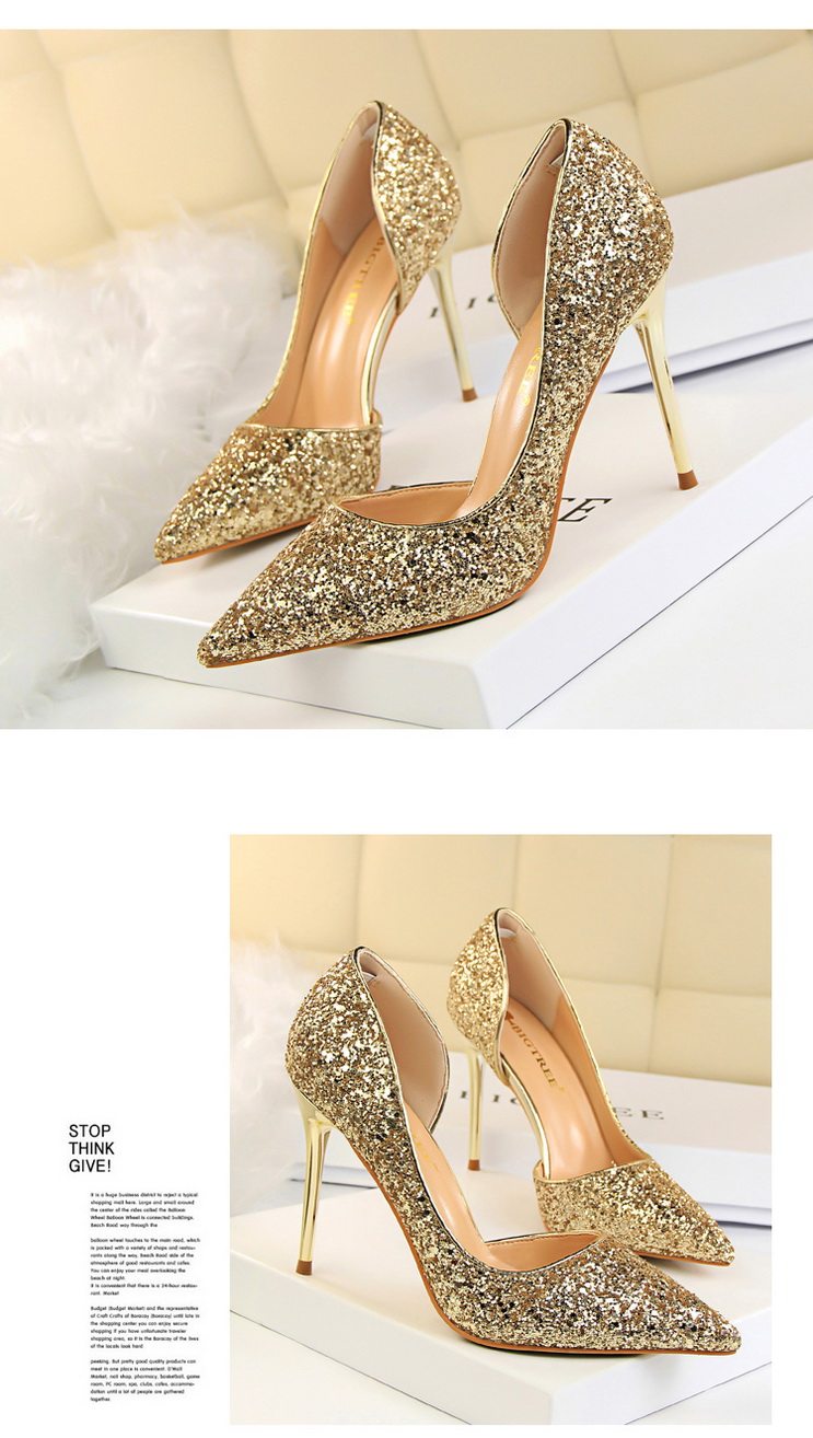Women Pumps Sexy Glisten Women Shoes Wedding Party Dress Heels Women Hollow Shallow Mouth High Heels Stiletto 868-8 3
